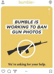 Instagram pic with yellow background and black rifle with a banned symbol over it